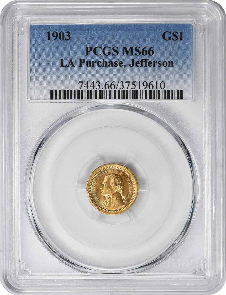 1903 Lousiana Purchase - Jefferson $1 Gold MS66 PCGS