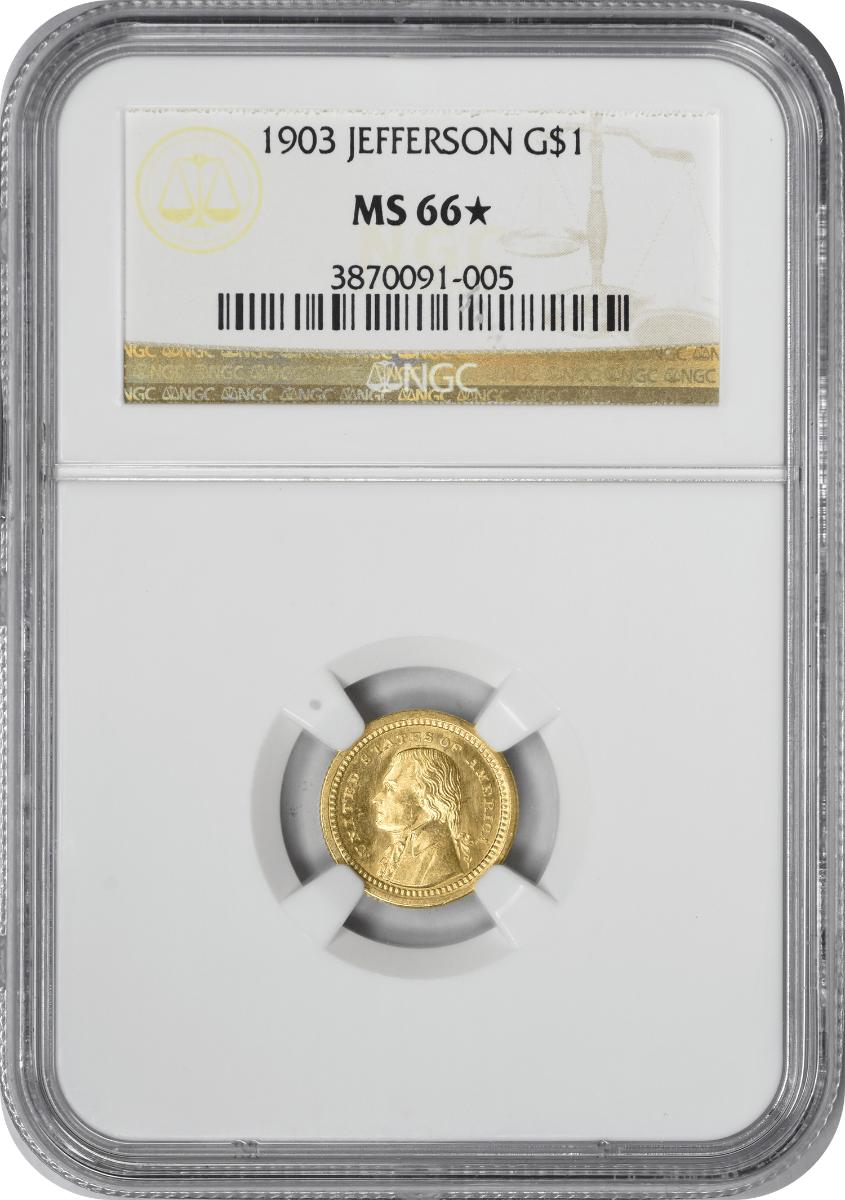 1903 Lousiana Purchase - Jefferson $1 Gold, MS66*, NGC
