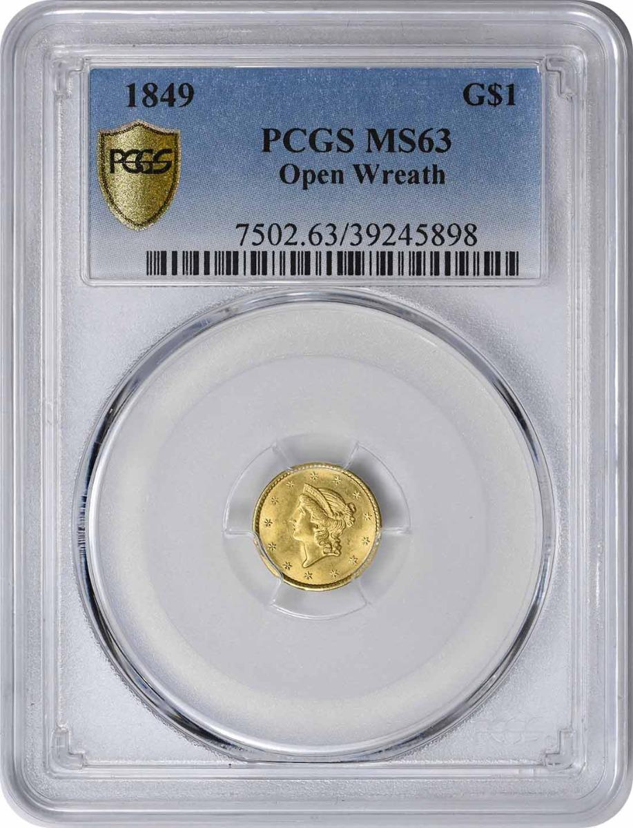 1849 $1 Gold Type 1 Open Wreath MS63 PCGS