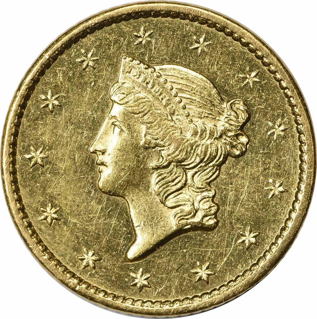 1849 $1 Gold Type 1 Open Wreath AU58 Uncertified
