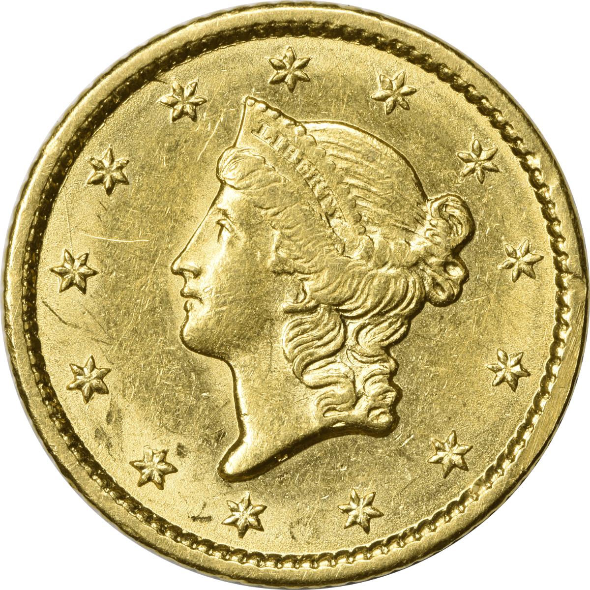 1849 $1 Gold Type 1 Open Wreath MS60 Uncertified
