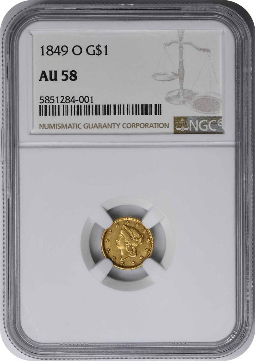 1849-O $1 Gold Type 1 AU58 NGC