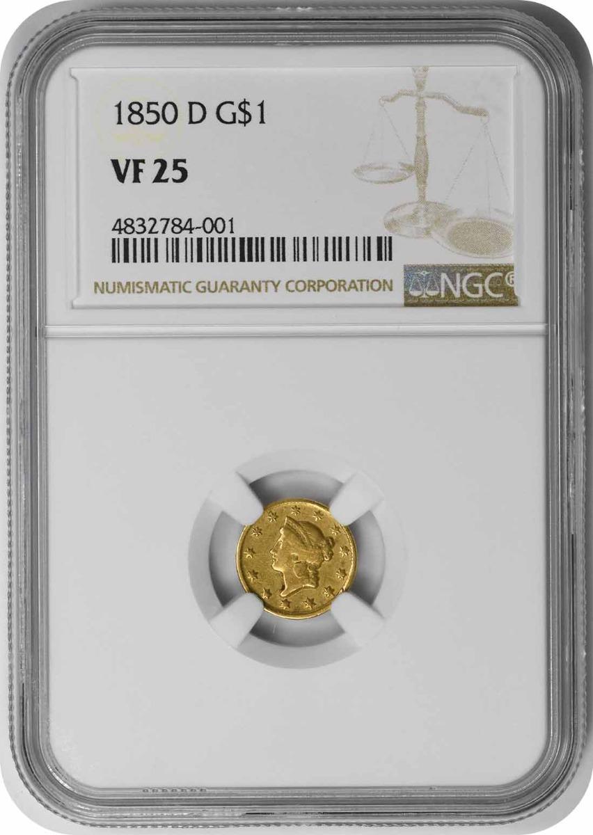 1850-D $1 Gold Type 1 VF25 NGC