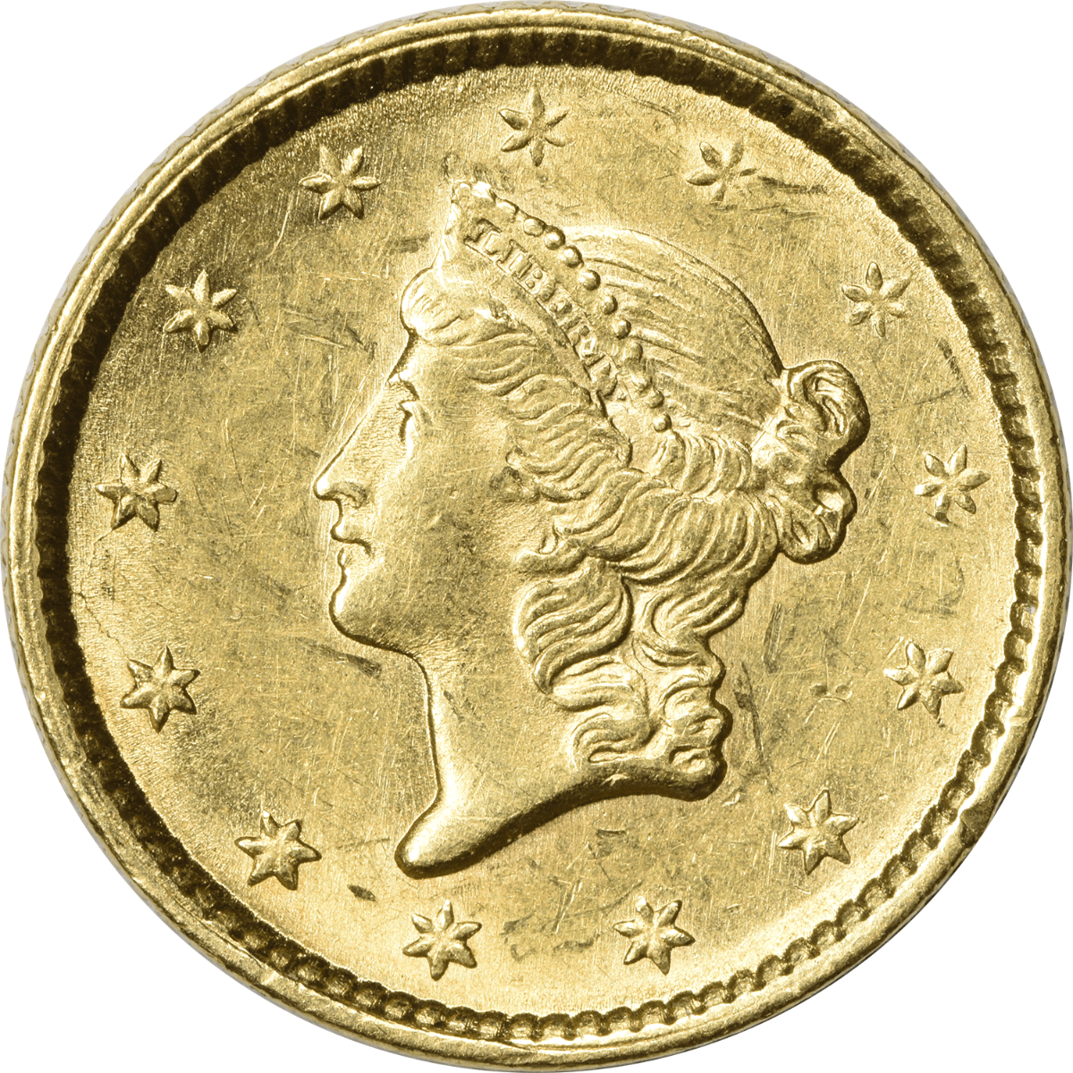 1851 $1 Gold Type 1 AU58 Uncertified