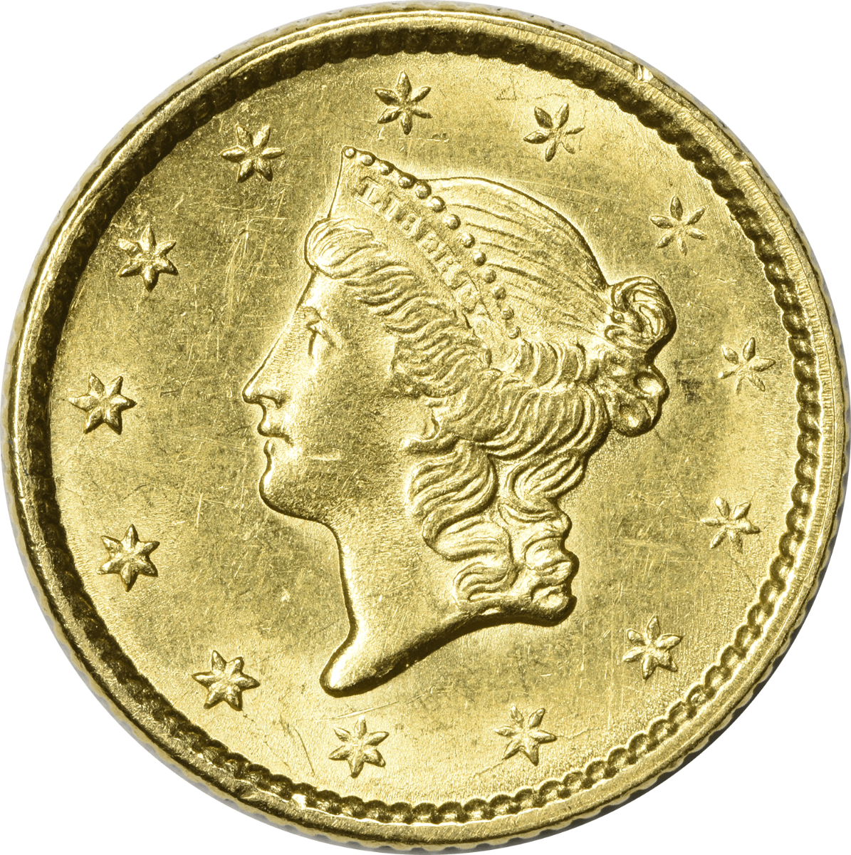1851 $1 Gold, Type 1, MS60, Uncertified