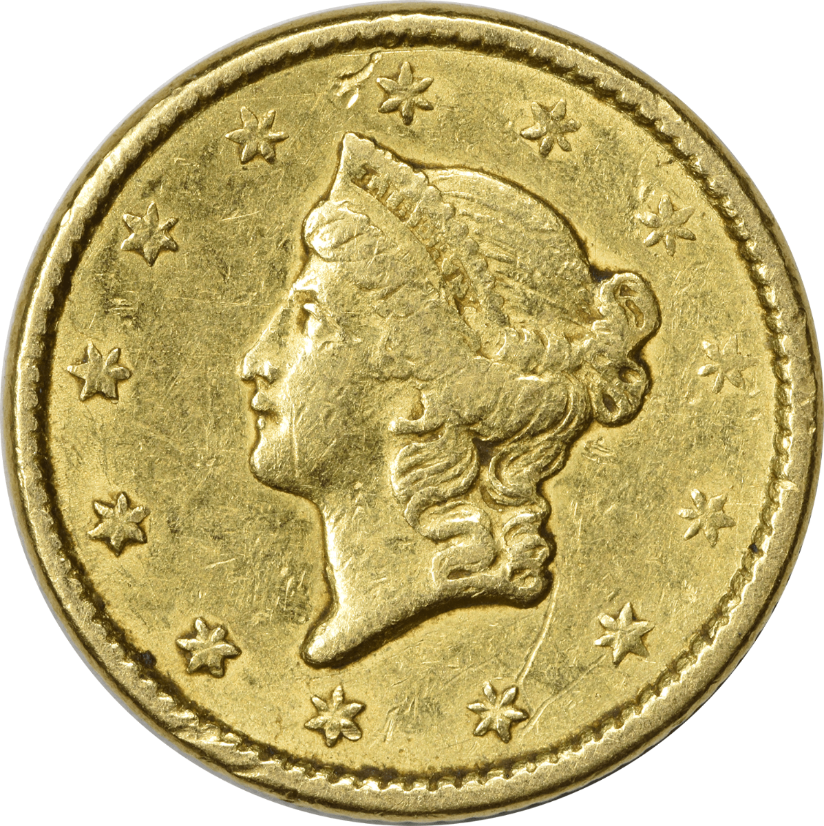1851 $1 Gold, Type 1, VF, Uncertified