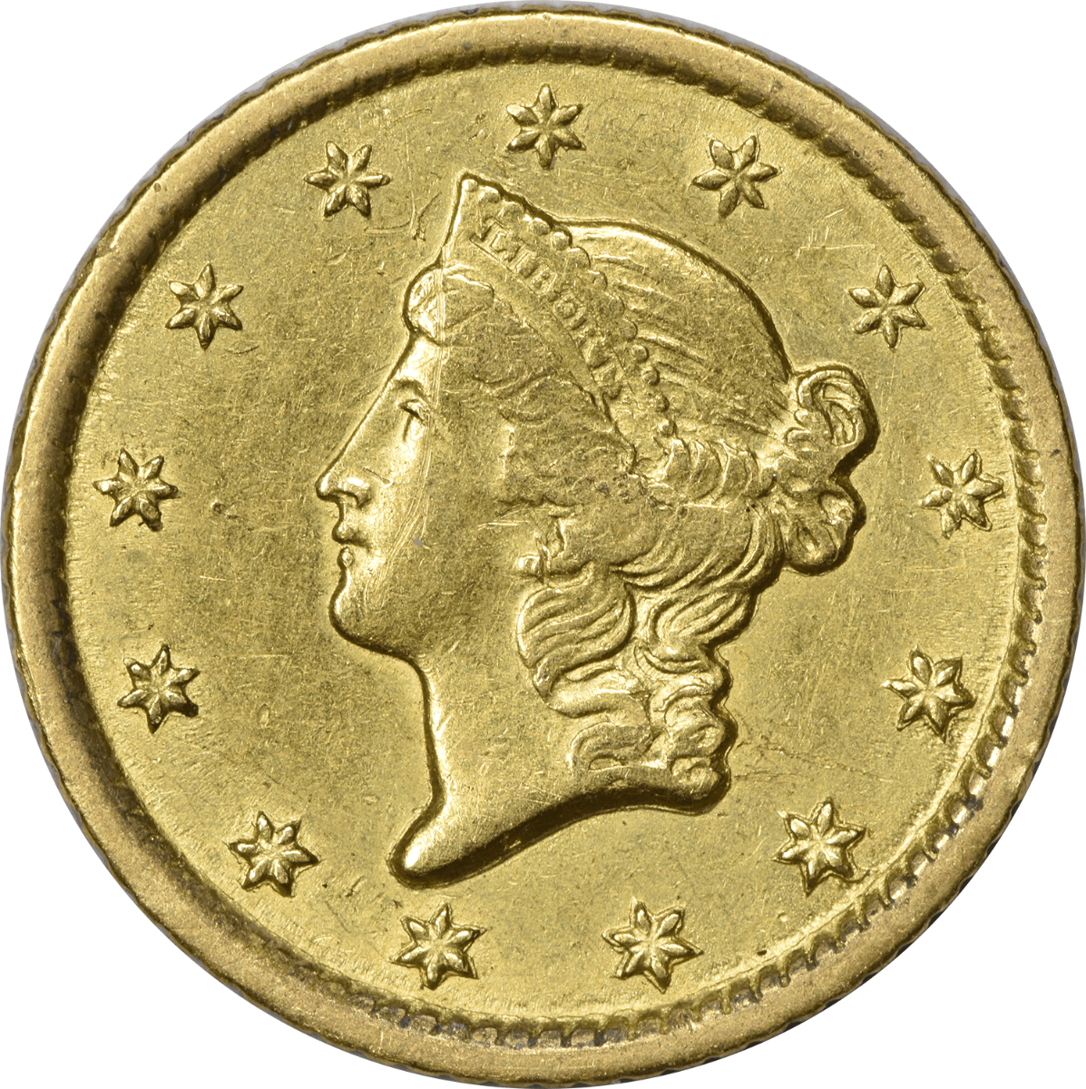1851-O $1 Gold Type 1 AU Uncertified