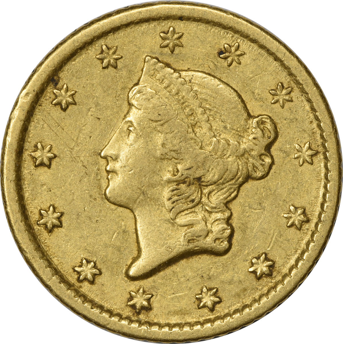 1851-O $1 Gold, Type 1, EF, Uncertified