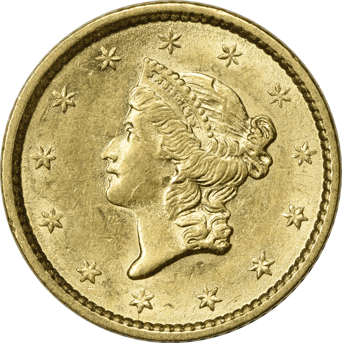 1852 $1 Gold Type 1 AU58 Uncertified