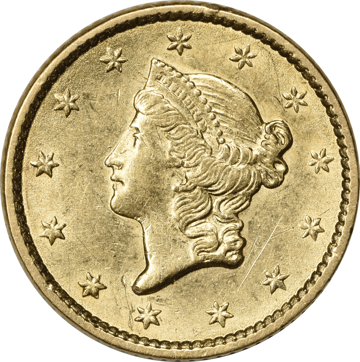 1852 $1 Gold Type 1 AU Uncertified