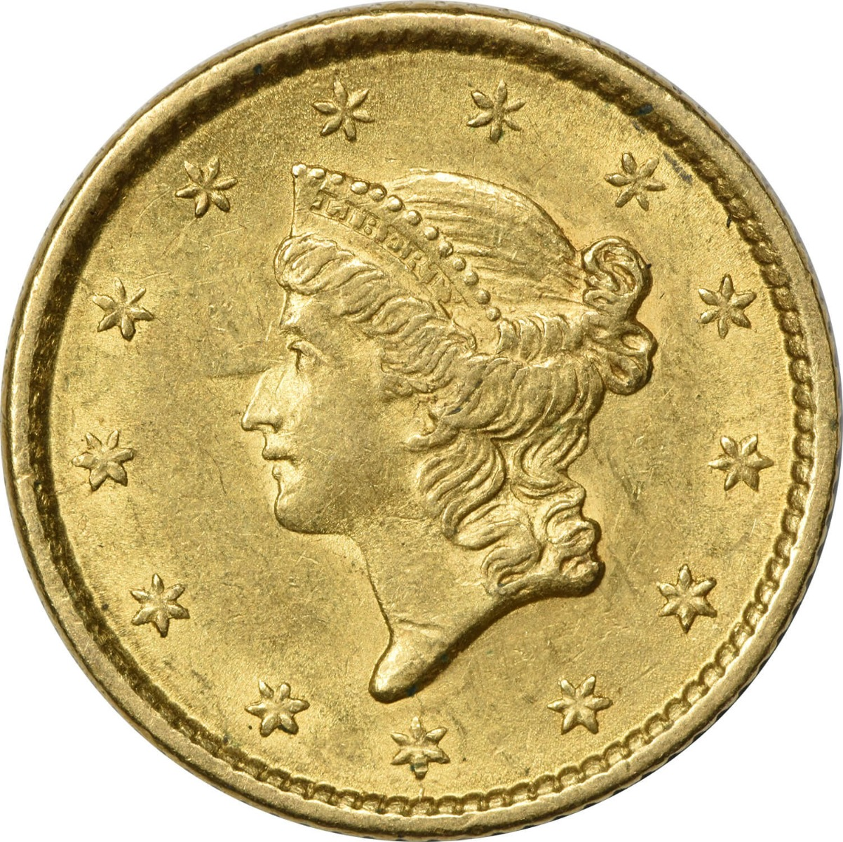 1852 $1 Gold, Type 1, Choice AU, Uncertified
