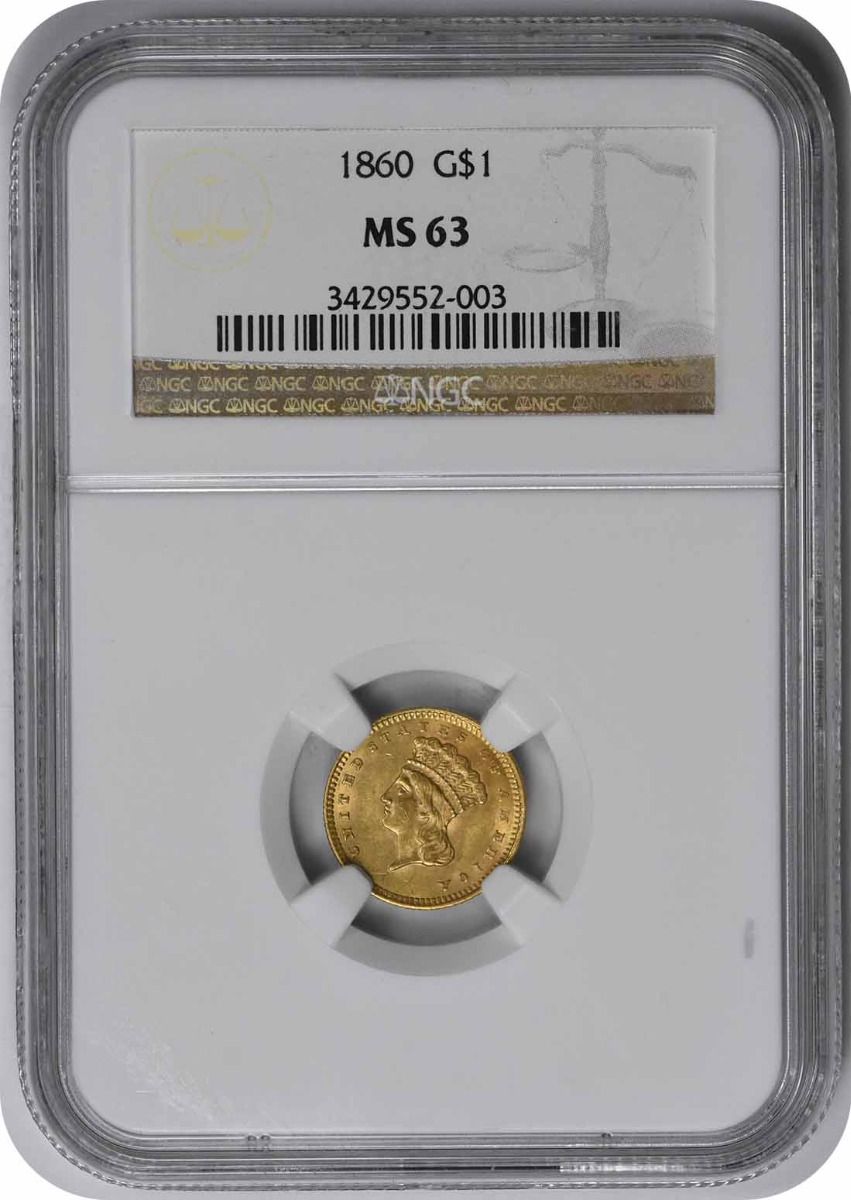 1860 $1 Gold Type 3 MS63 NGC