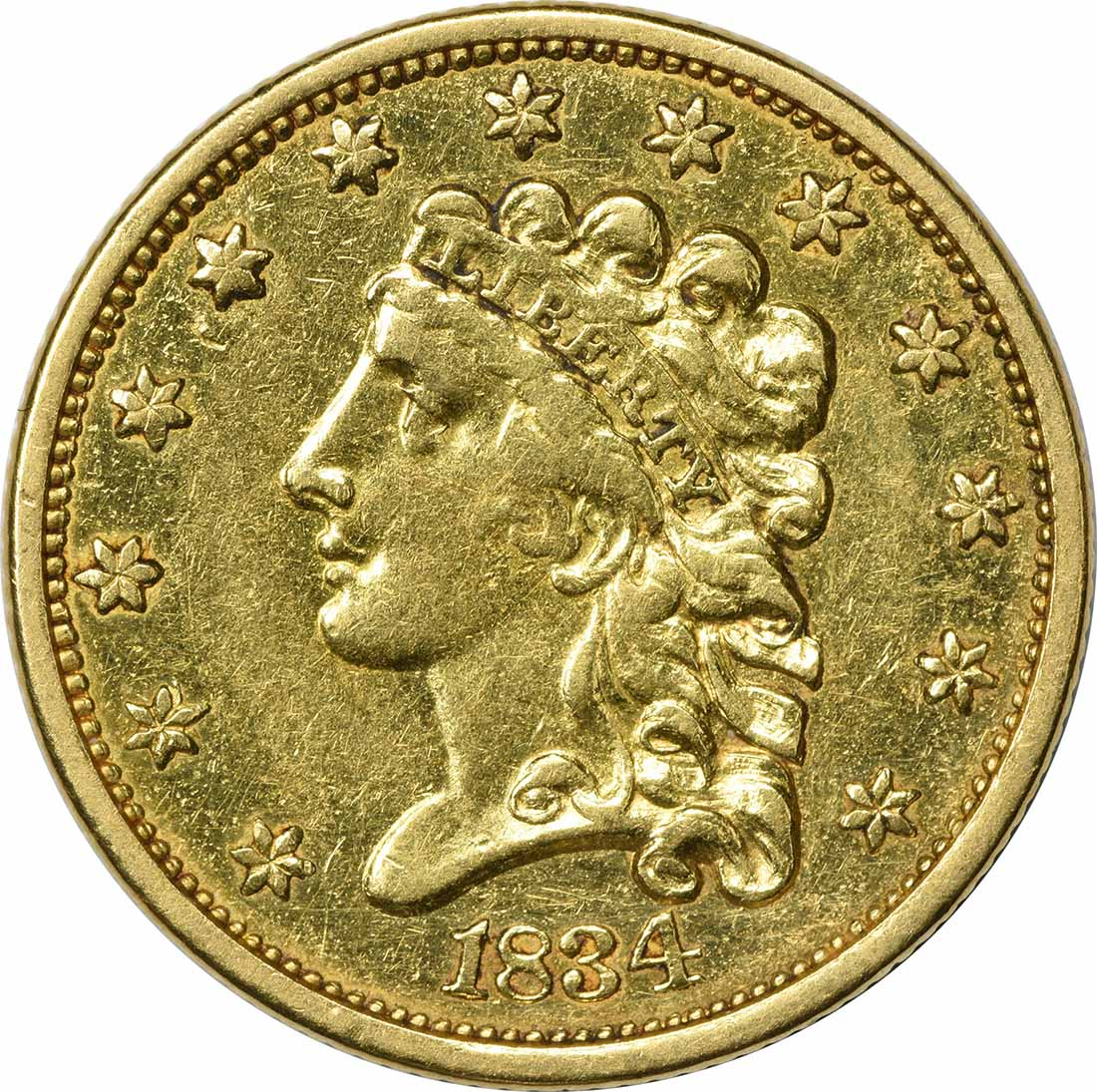 1834 $2.50 Gold Classic Head EF Uncertified