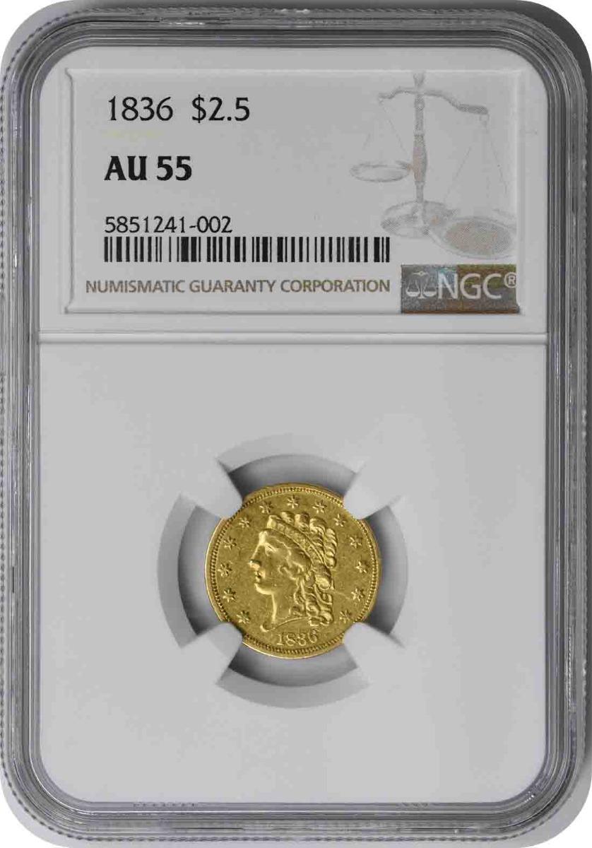 1836 $2.50 Gold Classic Head AU55 NGC