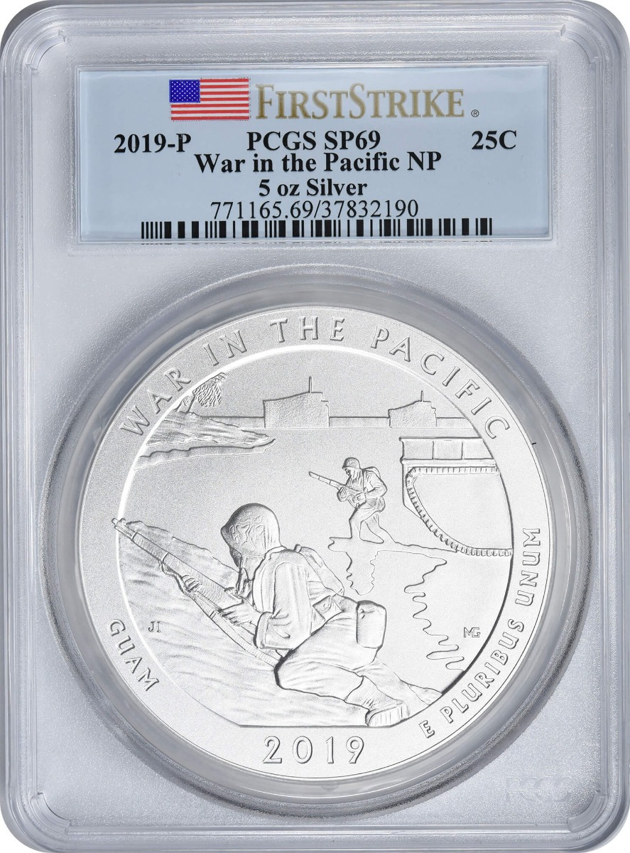 2019-P 5 oz Silver War in the Pacific National Park America the Beautiful Quarter, SP69, First Strike, PCGS