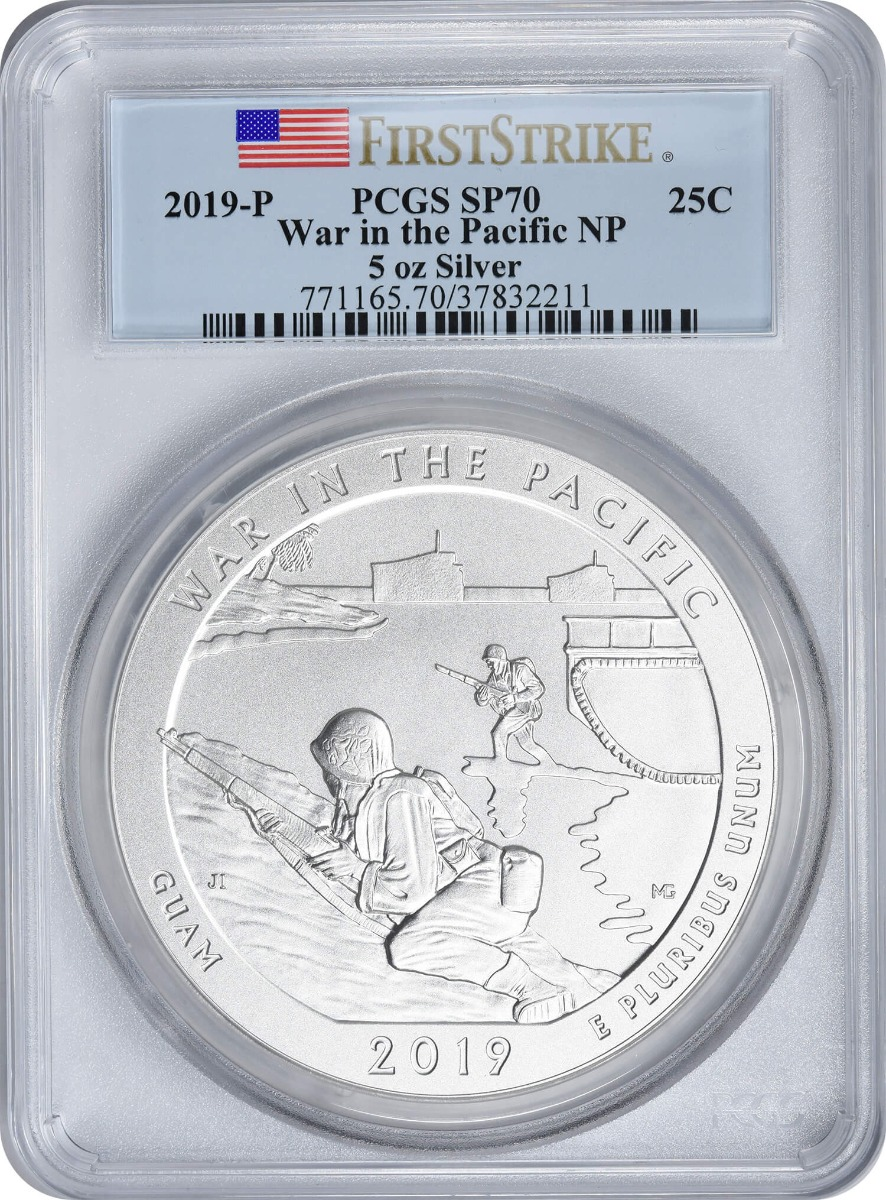 2019-P 5 oz Silver War in the Pacific National Park America the Beautiful Quarter, SP70, First Strike, PCGS