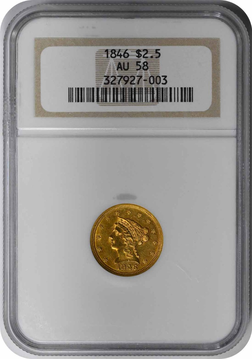 1846 $2.50 Gold Liberty Head AU58 NGC