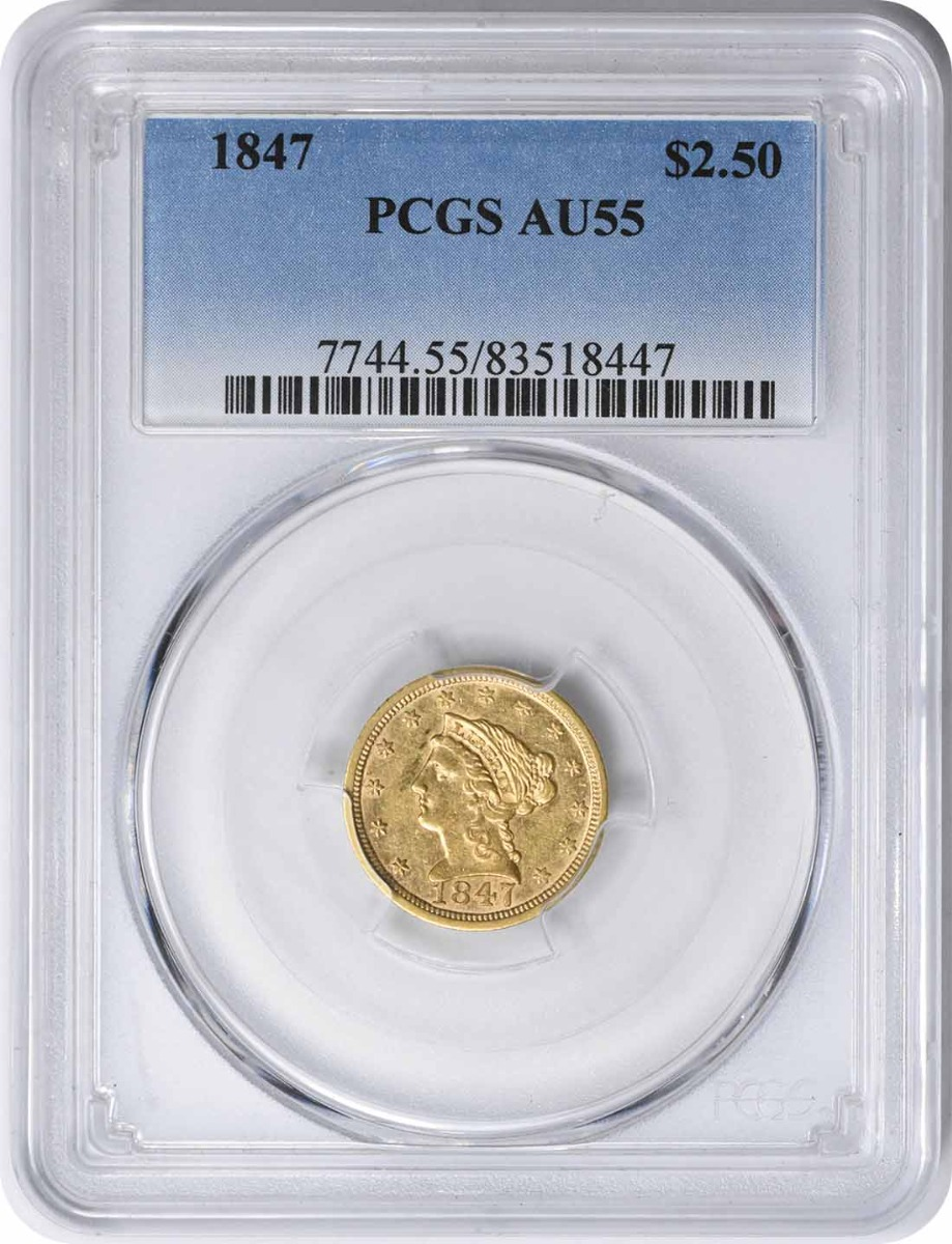 1847 $2.50 Gold Liberty Head AU55 PCGS