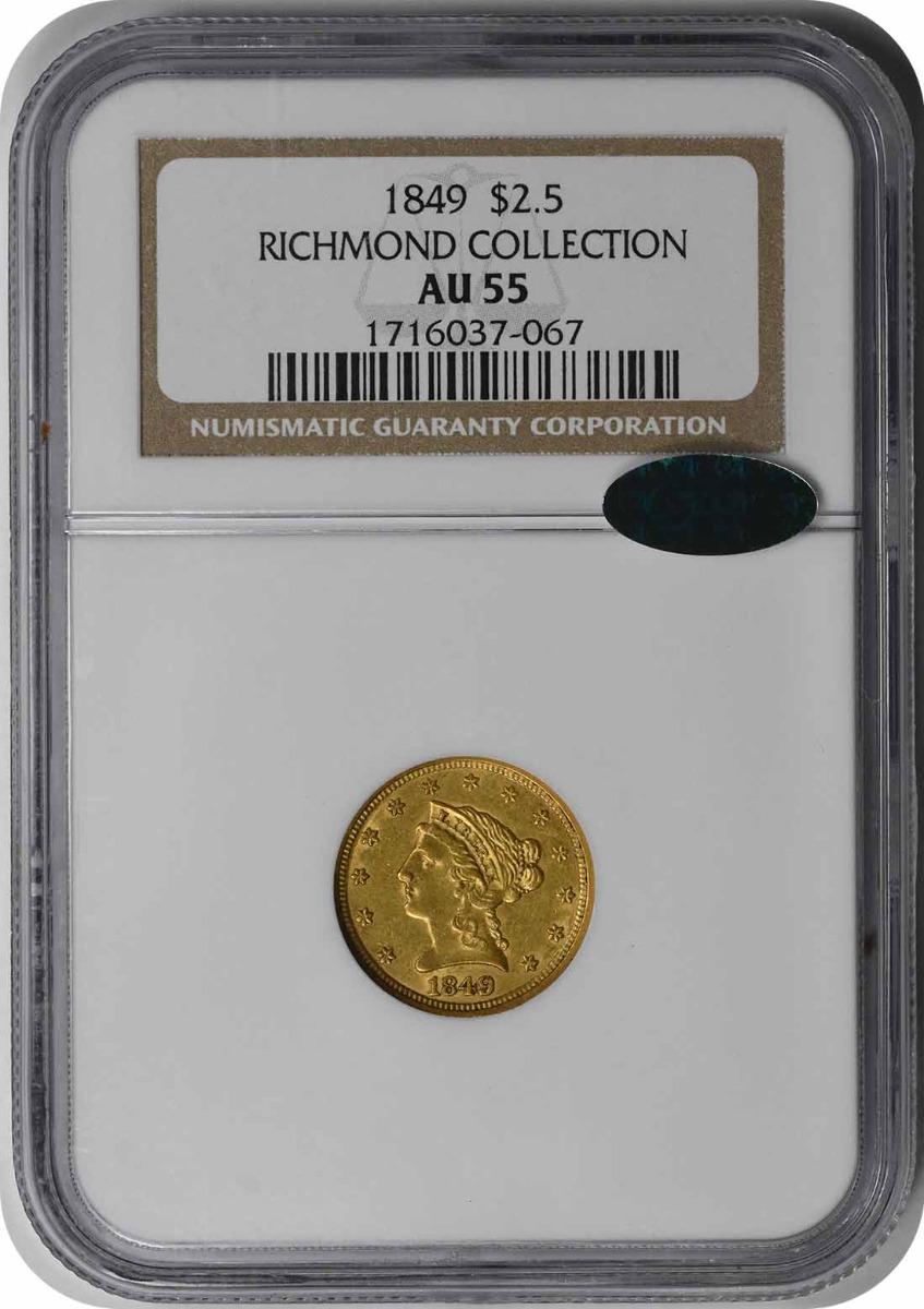 1849 $2.50 Gold Liberty Head AU55 NGC (CAC)