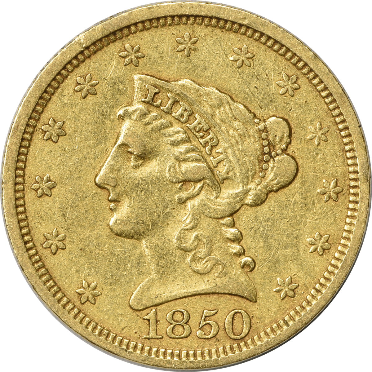 1850 $2.50 Gold Liberty Head EF Uncertified