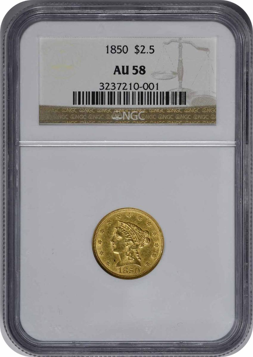 1850 $2.50 Gold Liberty Head AU58 NGC