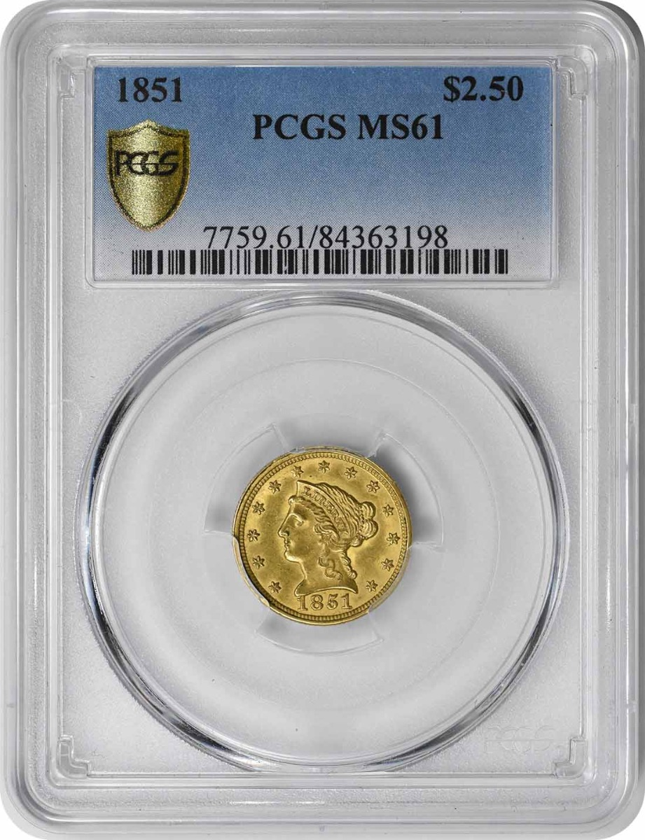 1851 $2.50 Gold Liberty Head MS61 PCGS