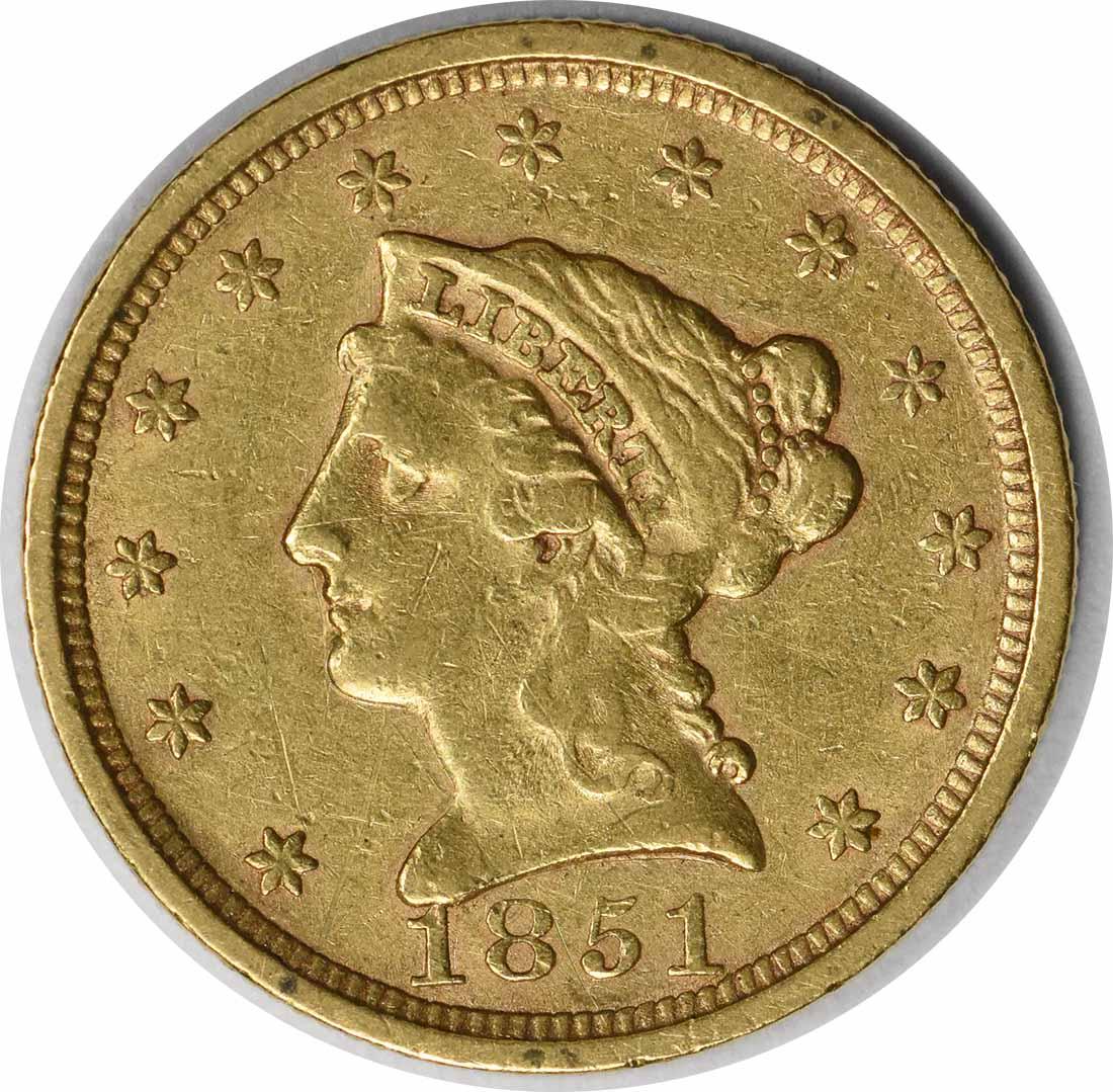 1851 $2.50 Gold Liberty Head EF Uncertified
