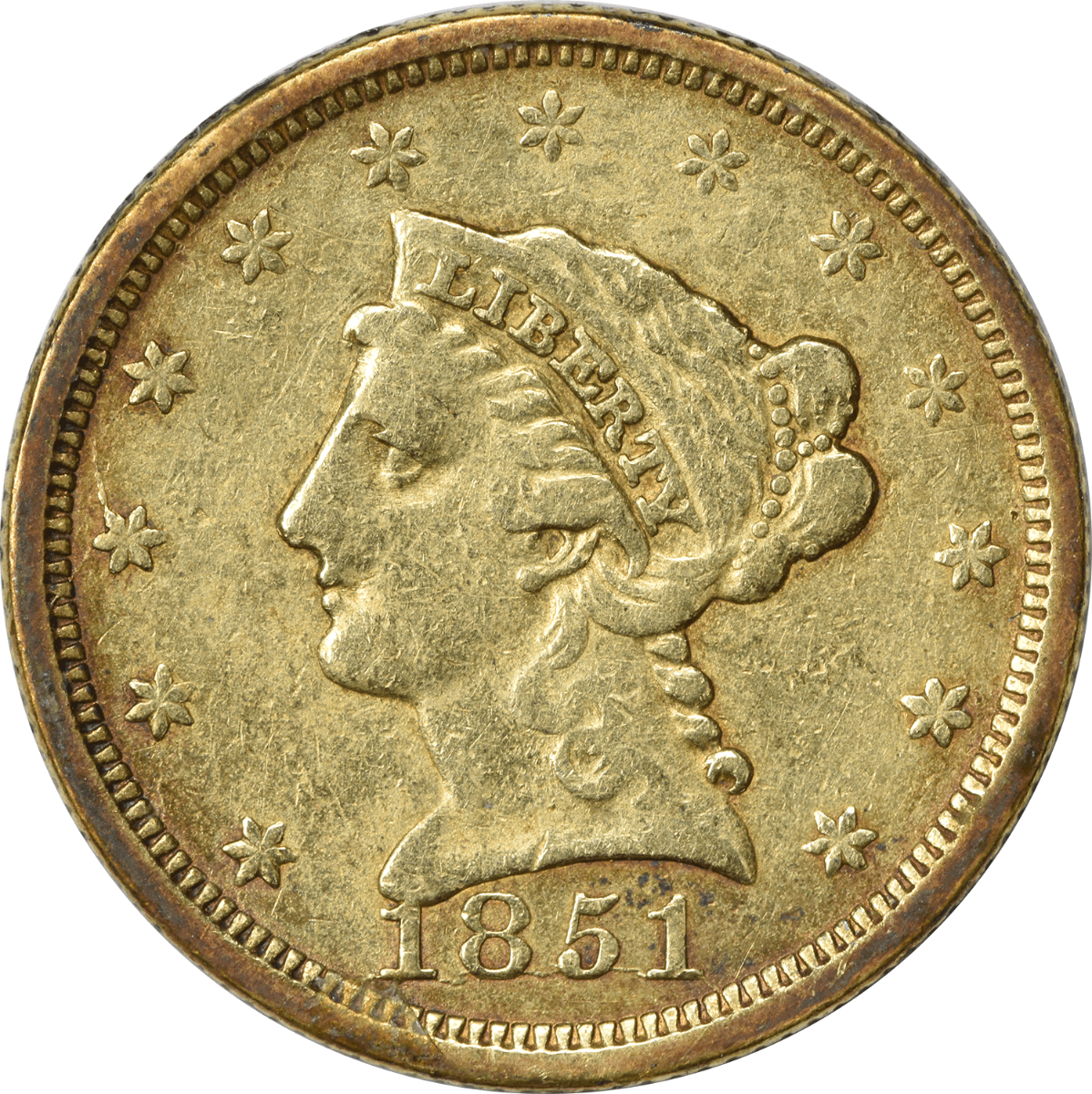 1851 $2.50 Gold Liberty Head VF Uncertified