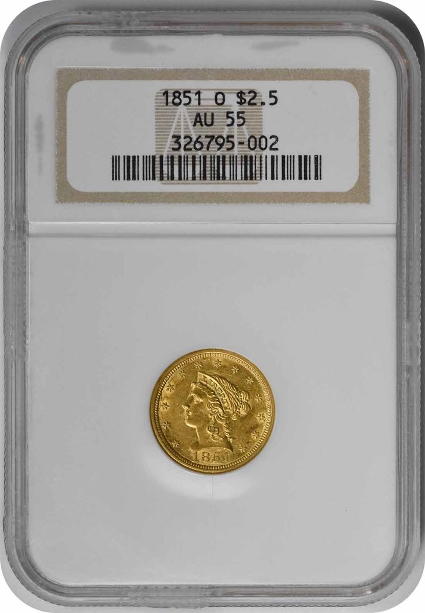 1851-O $2.50 Gold Liberty Head AU55 NGC
