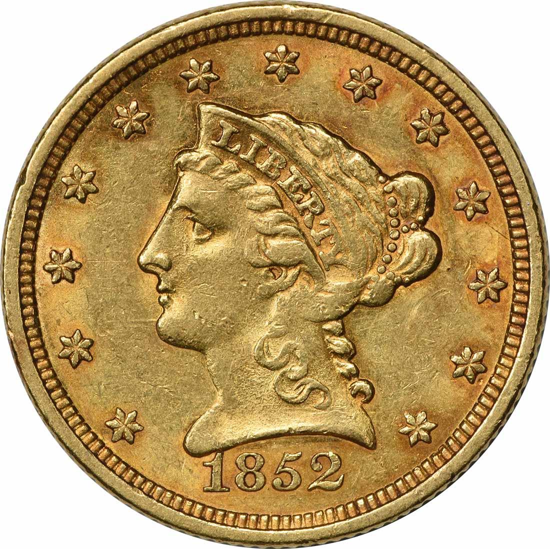 1852 $2.50 Gold Liberty Head AU58 Uncertified
