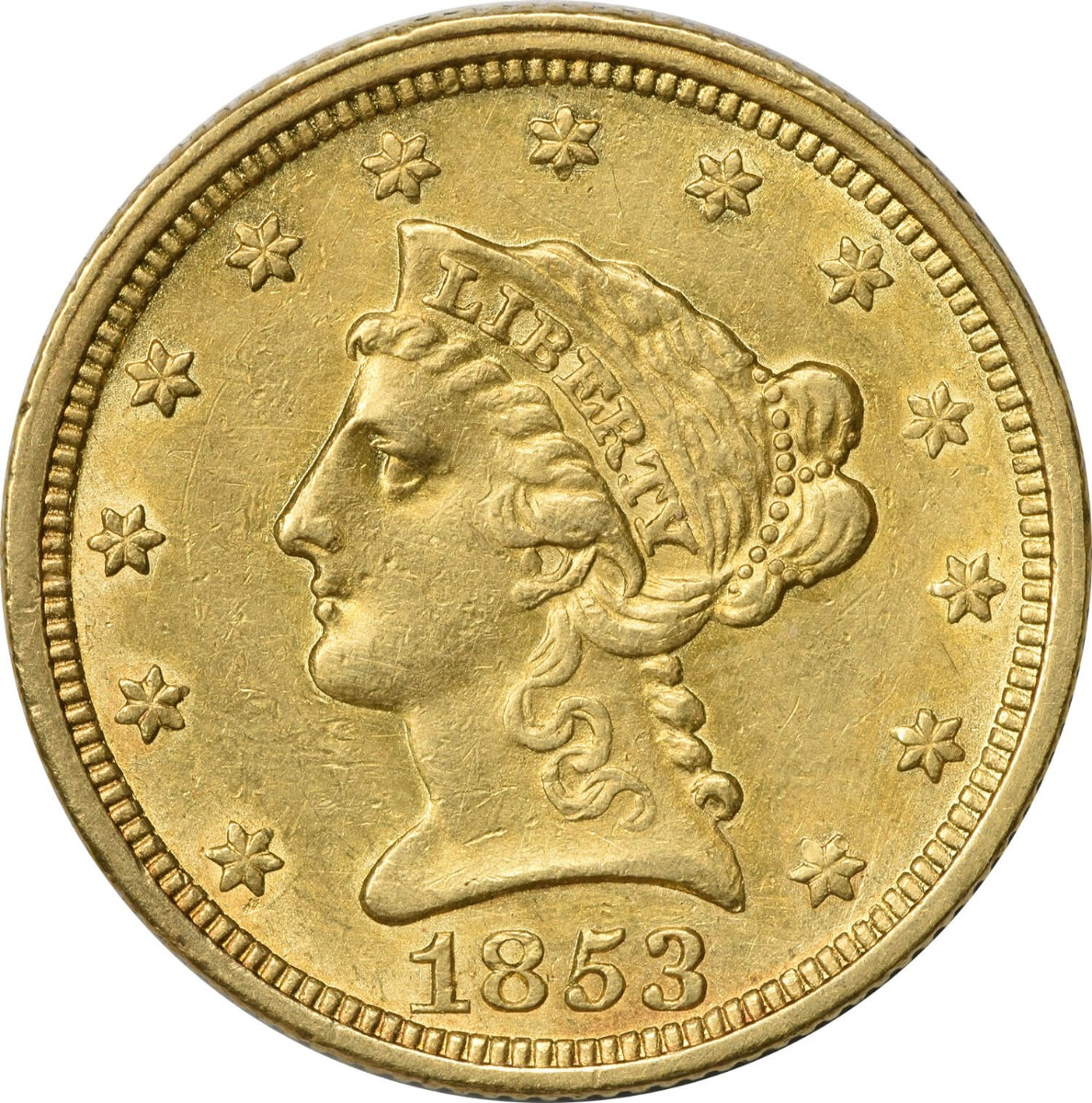 1853 $2.50 Gold Liberty Head AU Uncertified
