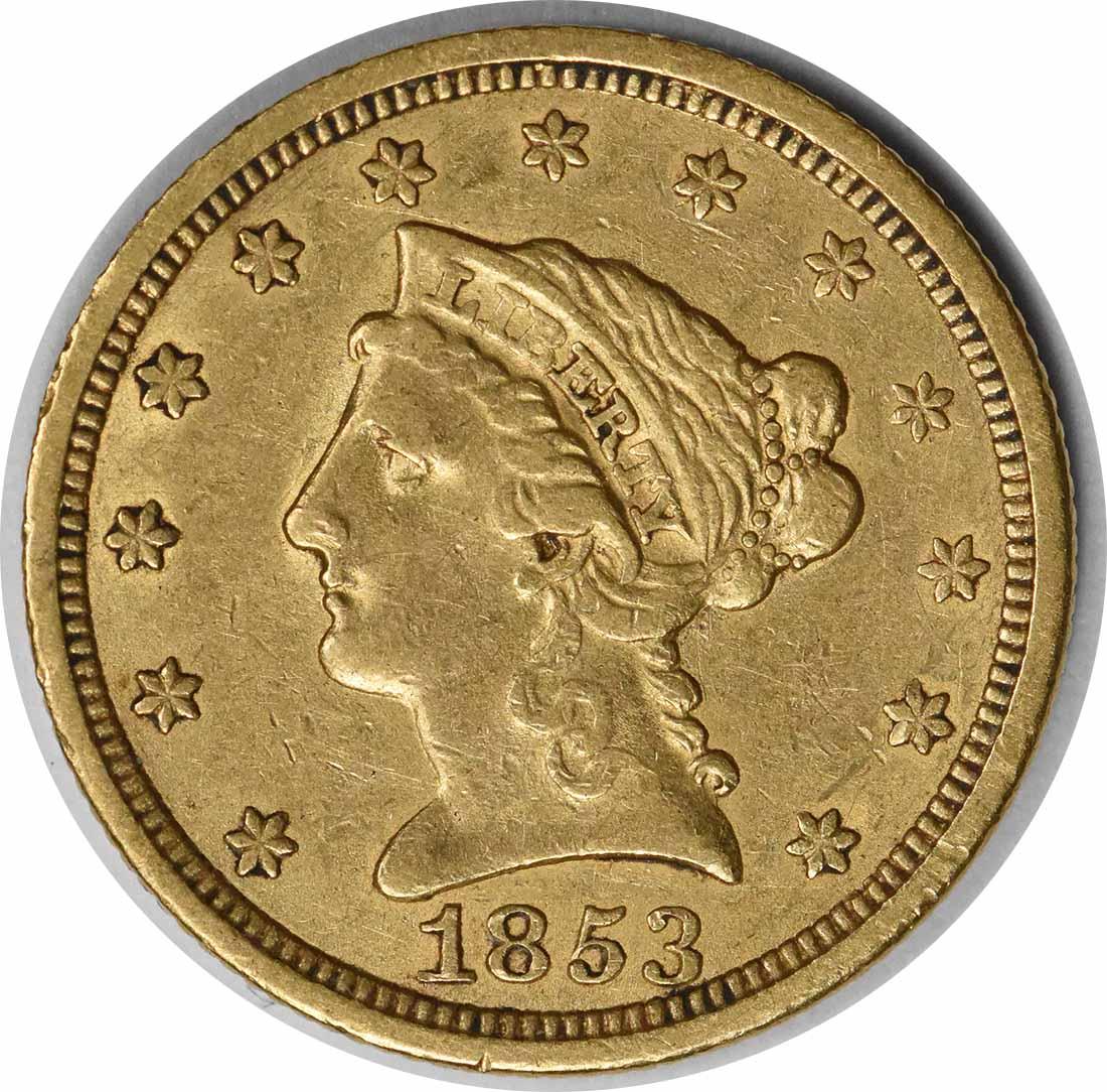 1853 $2.50 Gold Liberty Head EF Uncertified