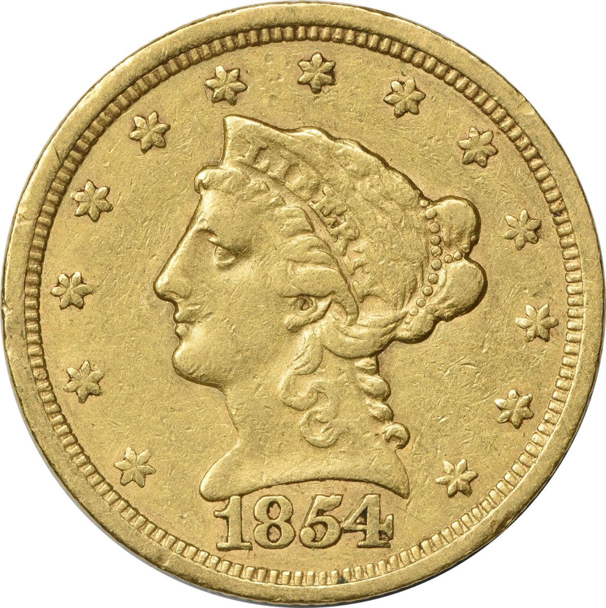 1854 $2.50 Gold Liberty Head EF Uncertified