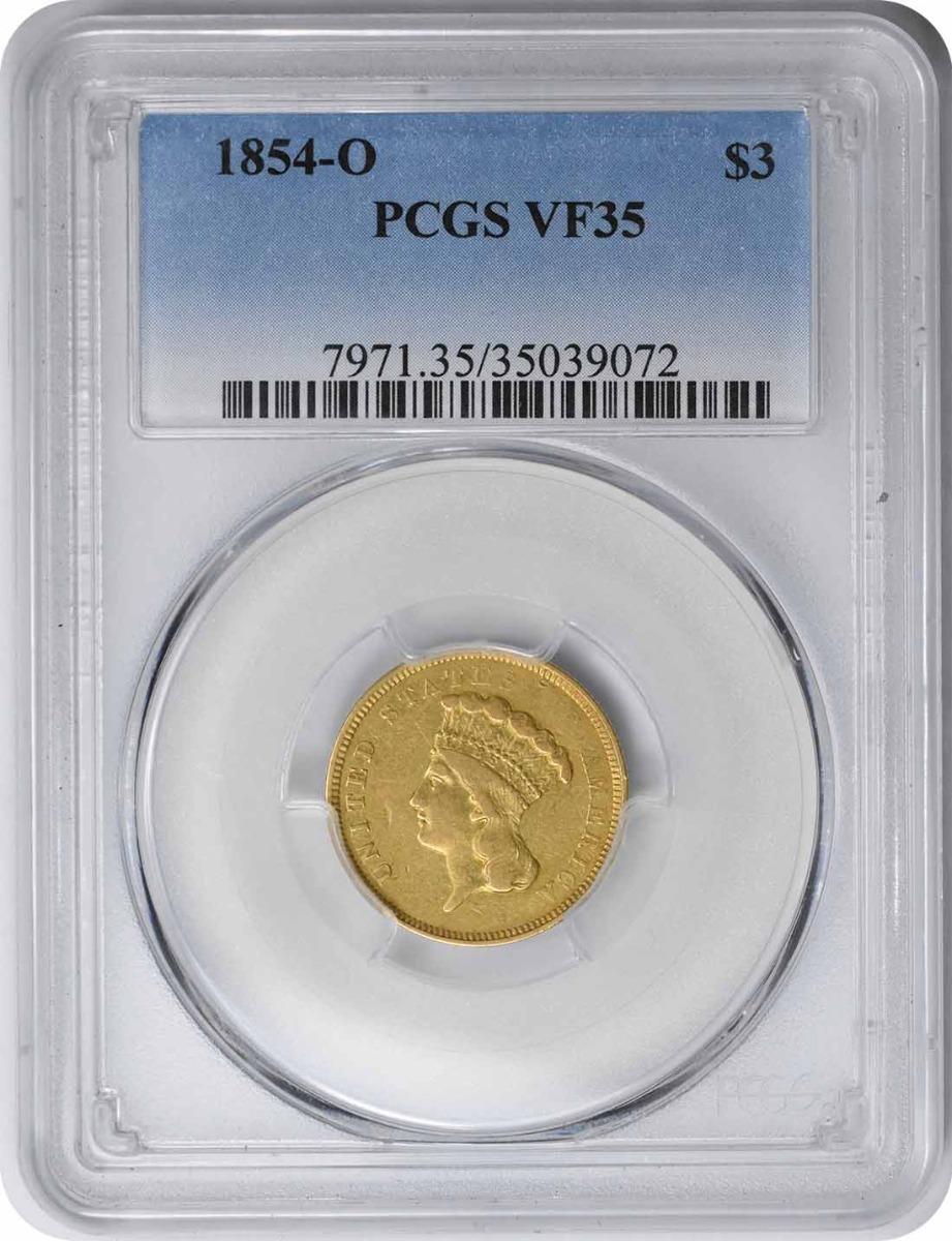 1854-O $3 Gold VF35 PCGS
