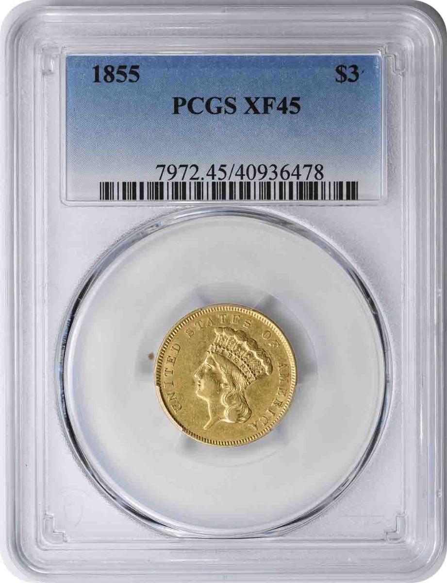 1855 $3 Gold EF45 PCGS