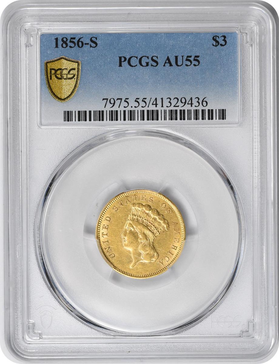 1856-S $3 Gold AU55 PCGS