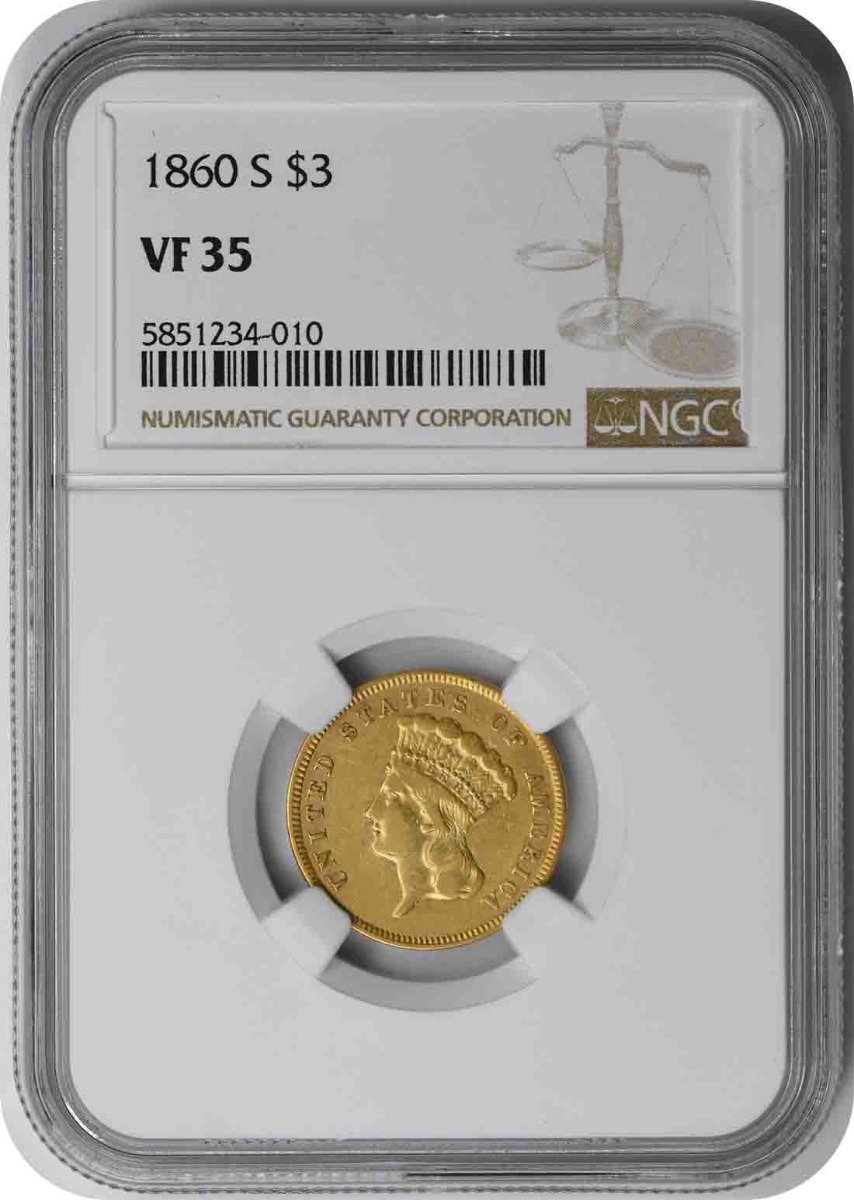 1860-S $3 Gold VF35 NGC