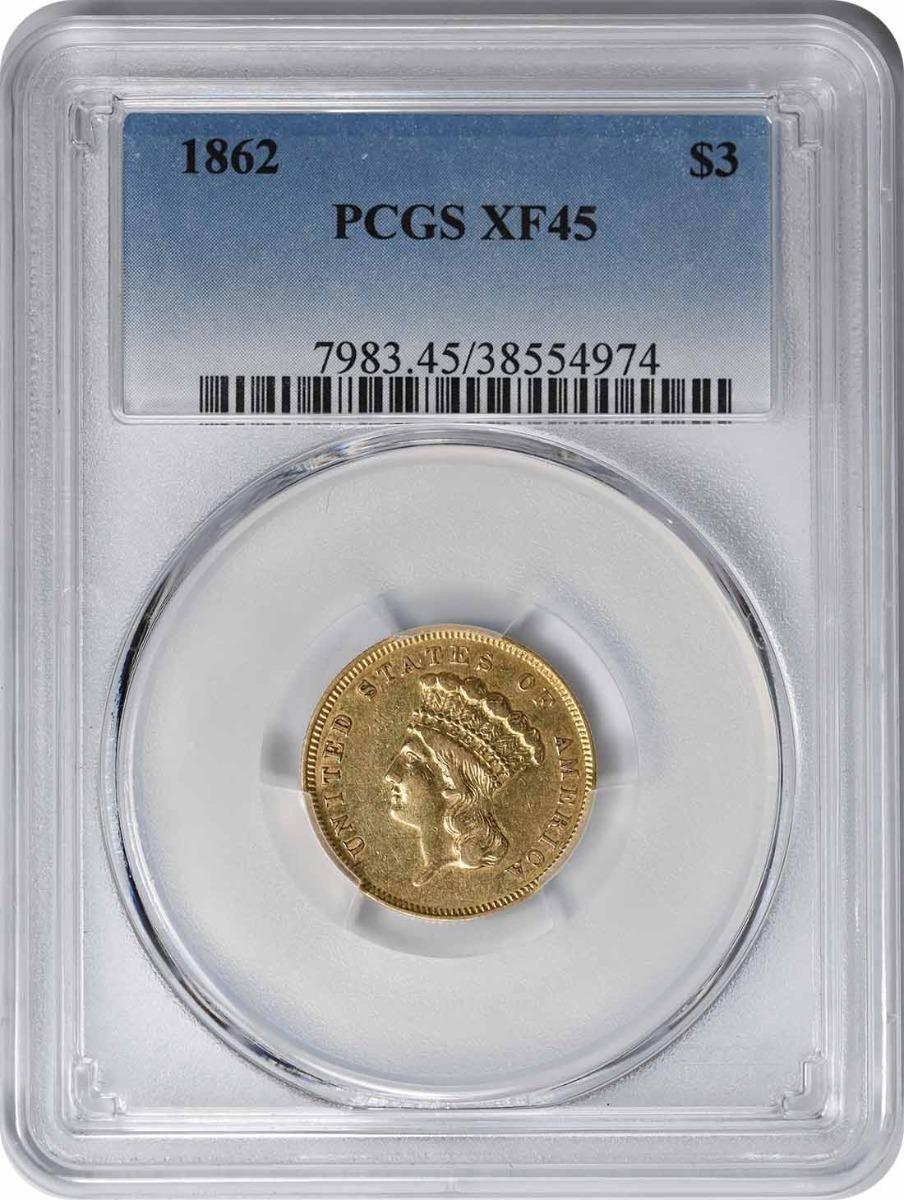 1862 $3 Gold EF45 PCGS