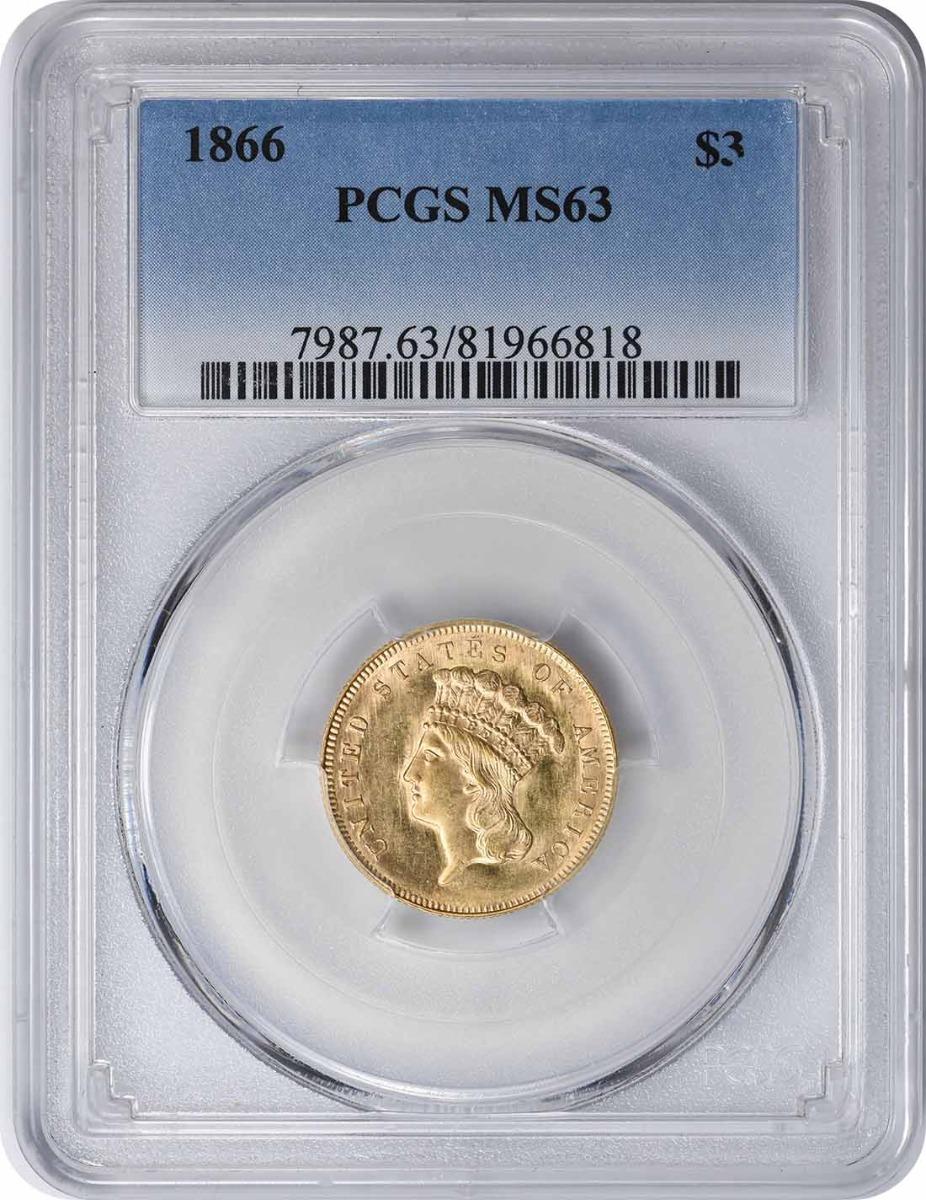 1866 $3 Gold MS63 PCGS