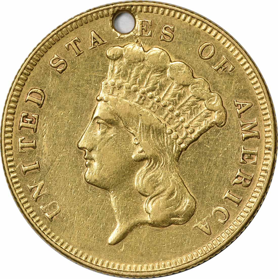 1874 $3 Gold EF (Hole) Uncertified