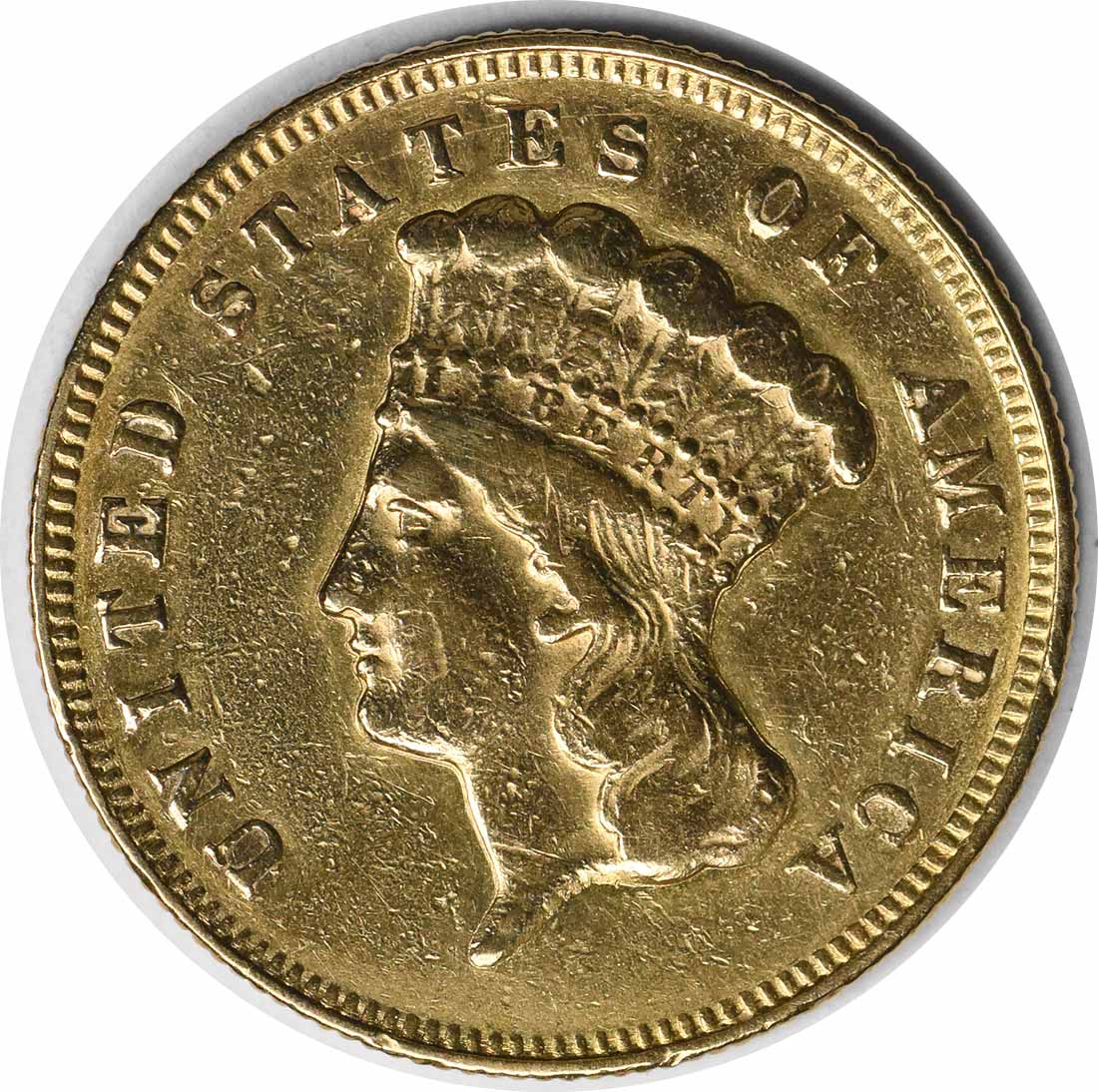 1874 $3 Gold EF Uncertified Indian