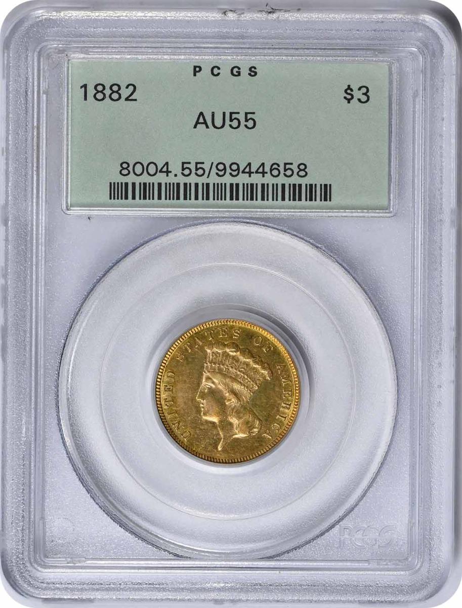 1882 $3 Gold AU55 PCGS