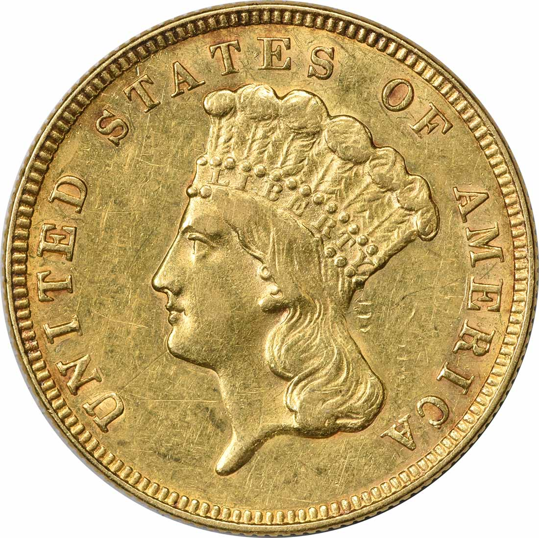 1888 $3 Gold EF Uncertified