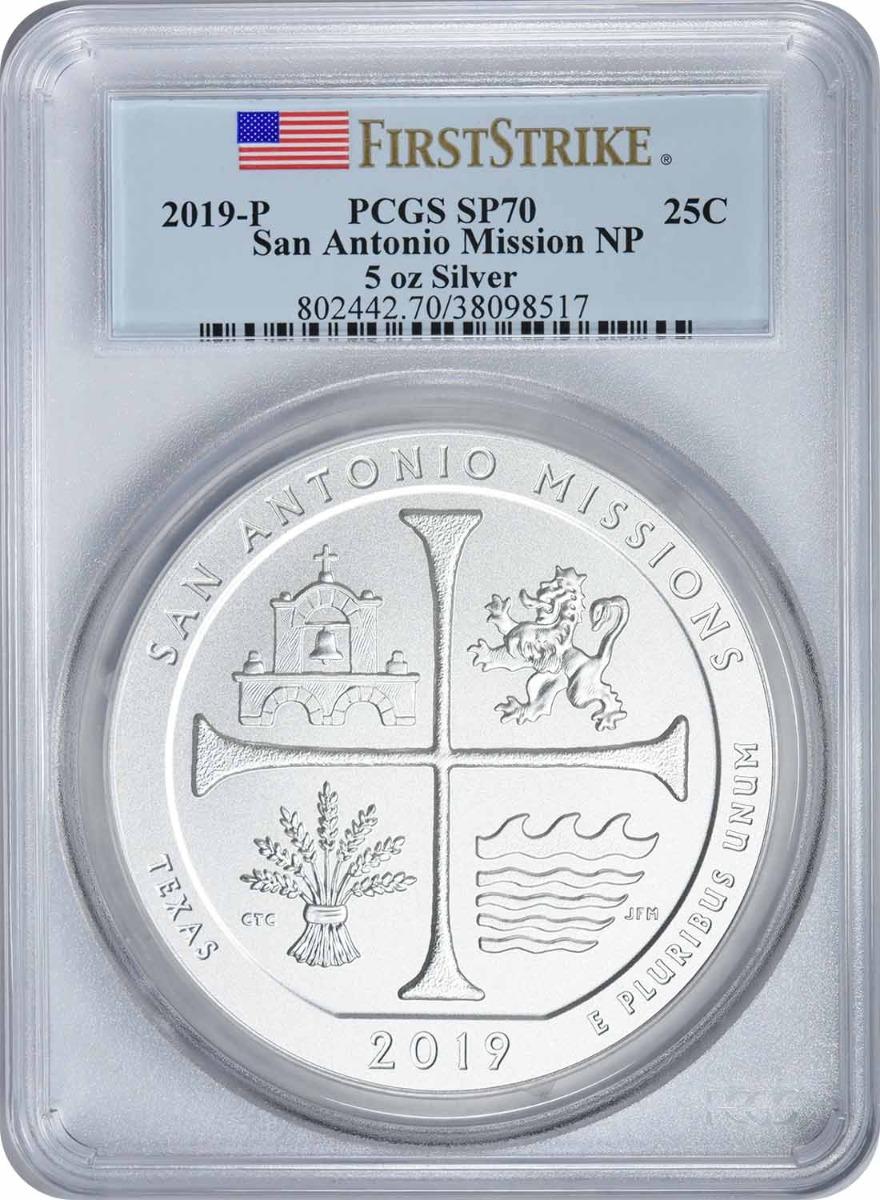 2019-P 5 oz Silver San Antonio Mission National Park America the Beautiful Quarter SP70 First Strike PCGS