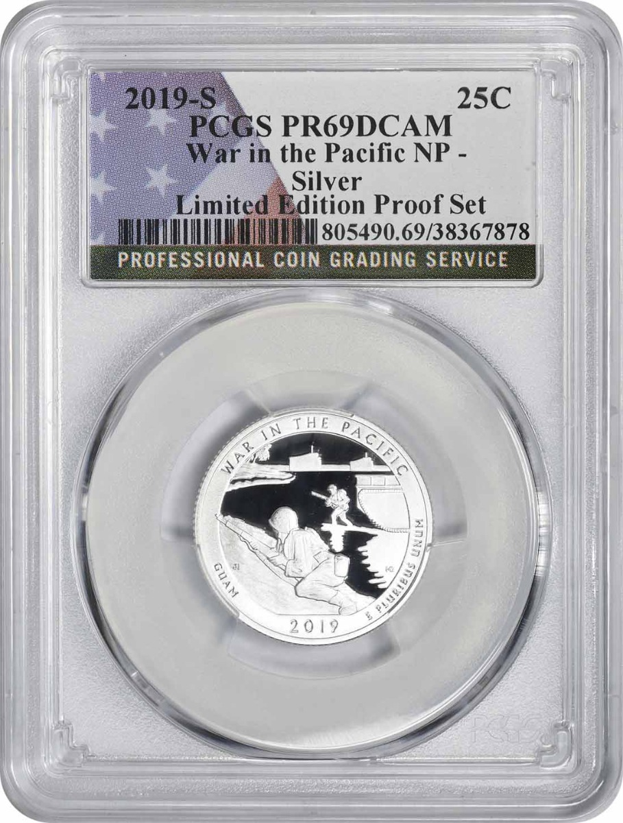 2019-S War in the Pacific National Park Silver Quarter Limited Edition Proof Set PR69CAM PCGS (Flag Label)