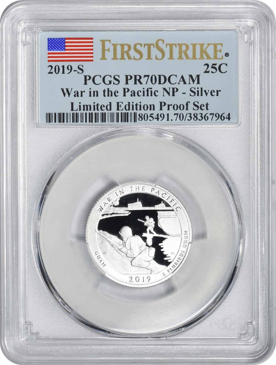 2019-S War in the Pacific National Park Silver Quarter Limited Edition Proof Set PR70DCAM First Strike PCGS