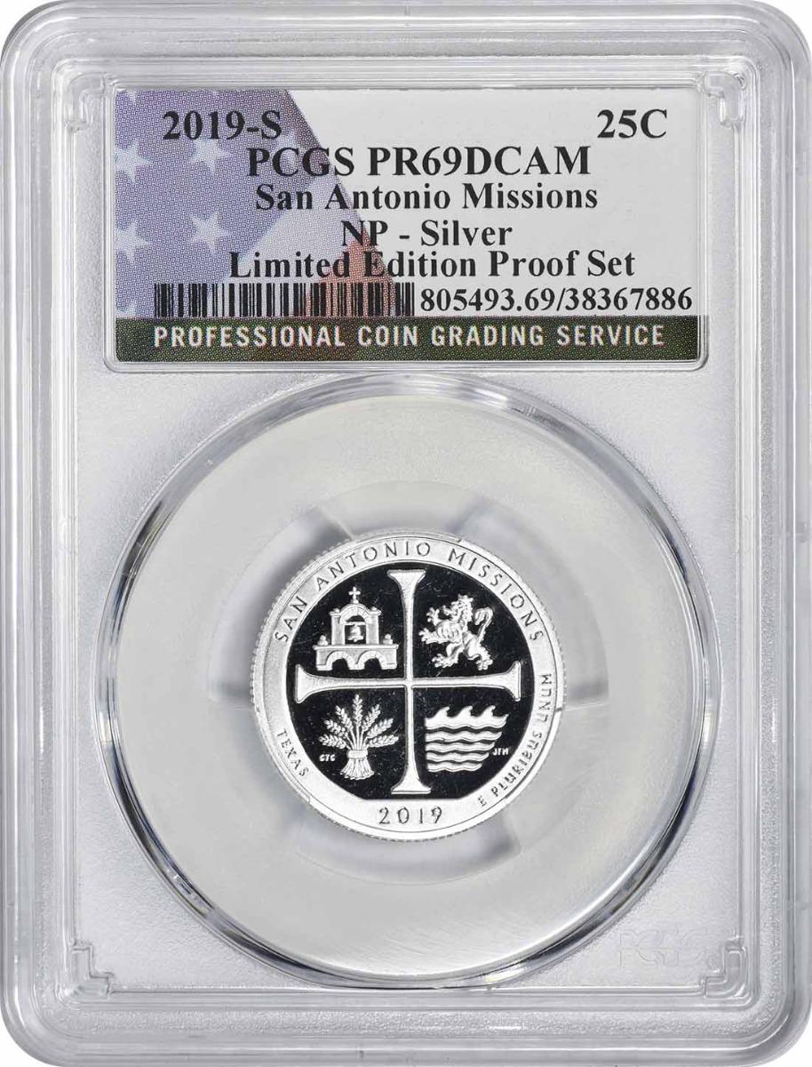 2019-S San Antonio Missions National Park Silver Quarter Limited Edition Proof Set PR69DCAM PCGS (Flag Label)