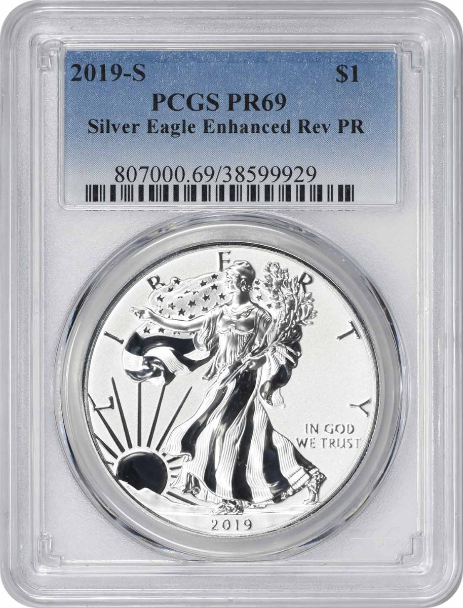 2019-S $1 American Silver Eagle Enhanced Reverse Proof PR69 PCGS