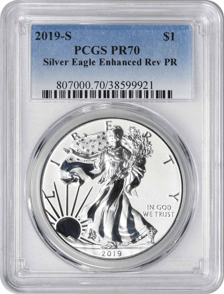 2019-S $1 American Silver Eagle Enhanced Reverse Proof PR70 PCGS