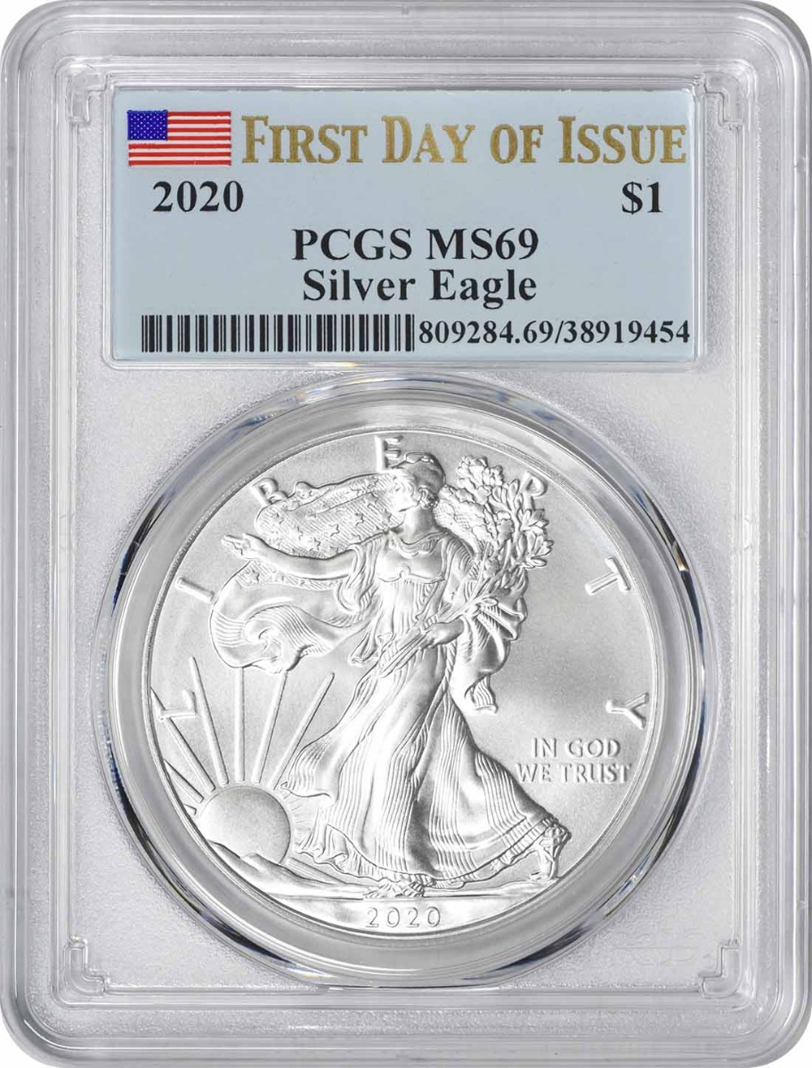 2020 $1 American Silver Eagle MS69 First Day of Issue PCGS